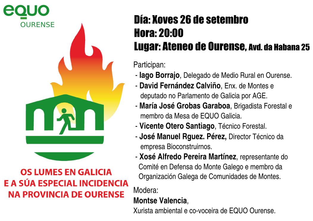 Cartel da Mesa-Debate: Os lumes en Galicia e a súa especial incidencia na provincia de Ourense