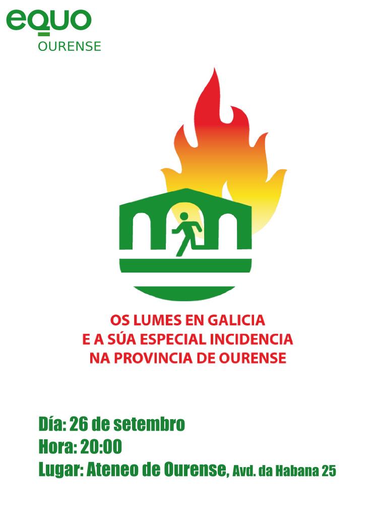 Cartel da Mesa-Debate (alternativa con menos información): Os lumes en Galicia e a súa especial incidencia na provincia de Ourense