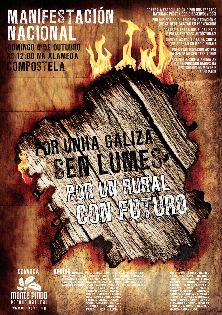 Cartel da manifestación contra os lumes do 6 de outubro en Compostela