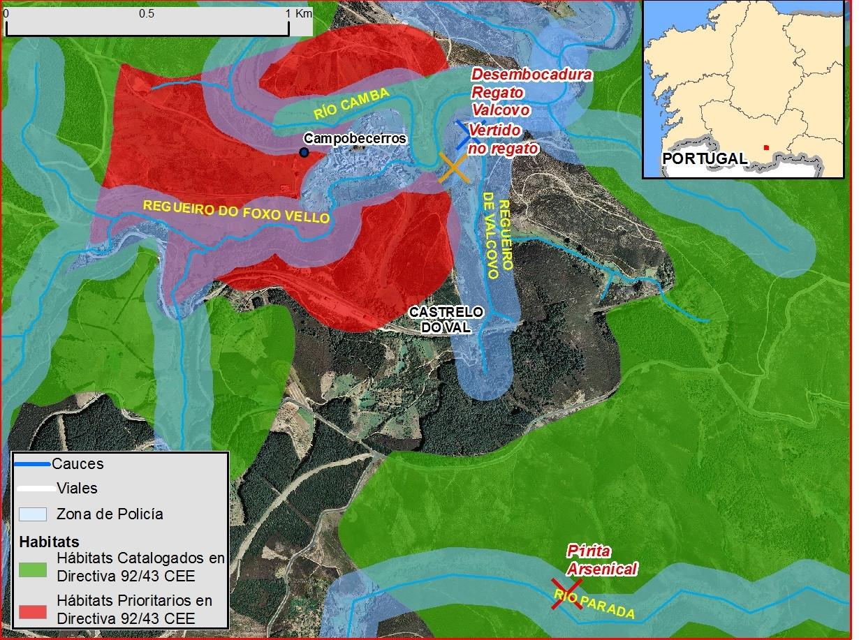 Proxección sobre un mapa das zonas afectadas polas obras do AVE na contorna de Campobecerros