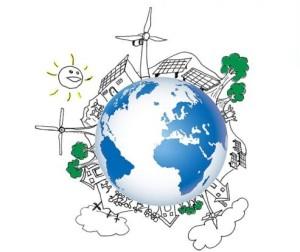 Debuxo do noso planeta apostando polas enerxías verdes e o consumo responsable